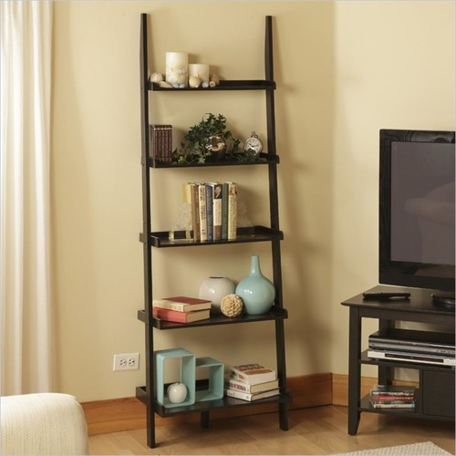 Convenience Concepts - Convenience Concepts American Heritage Ladder Bookshelf in Black - Black