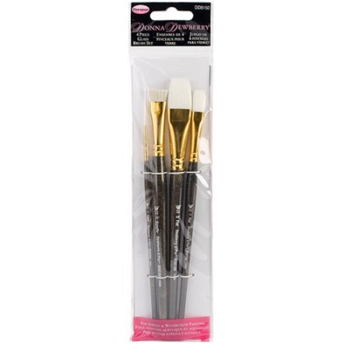 Donna Dewberry Glass Brush Set 4pc-Liner#2,Flat#12,Scruffy1/2