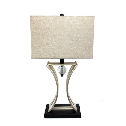 Elegant Designs Brushed Chrome and Black Executive Hourglass Business Table Lamp