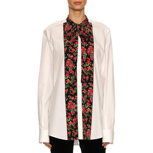DOLCE & GABBANA Rose-Paneled Poplin Tunic Blouse, White Pattern