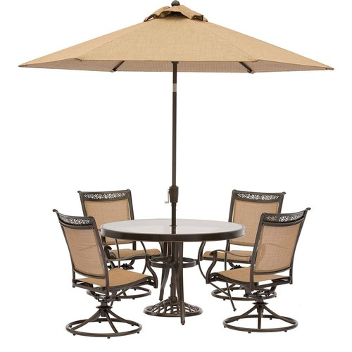 Hanover Fontana 5-Piece Aluminum Round Outdoor Dining Set with Swivels, Cast-Top Table, Umbrella and Base