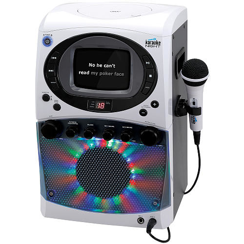 Karaoke Night CD+G Karaoke System with LED Light Show and Black & White Monitor