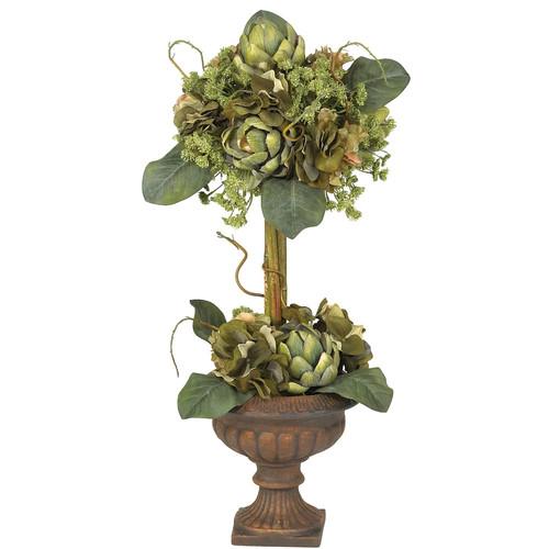 Nearly Natural Artichoke Topiary Silk Flower Arrangement
