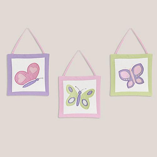 Sweet Jojo Designs Butterfly 3-Piece Wall Hanging Set in Pink/Purple