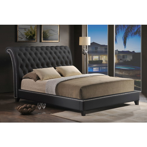 Baxton Studio Jazmin Tufted Black Modern Bed with Upholstered Headboard - King Size