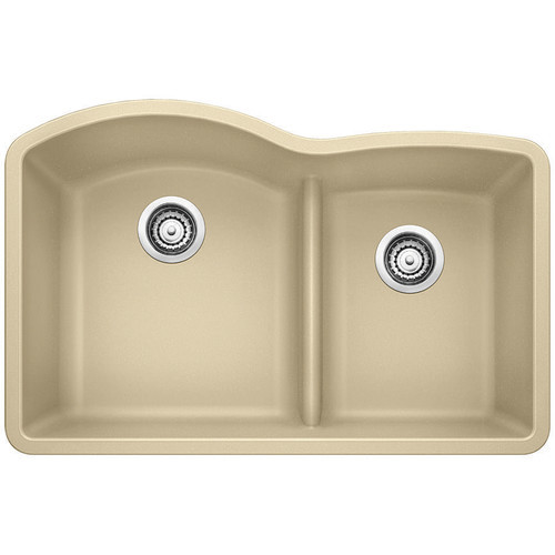 Blanco Diamond Undermount Granite Composite 32 in. 70/30 Double Bowl Kitchen Sink in Biscotti