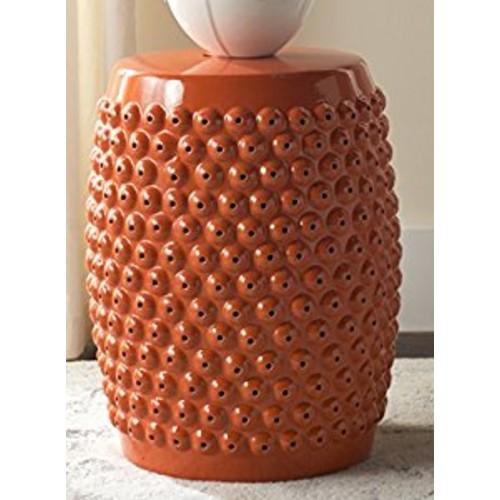 Safavieh Castle Garden's Collection Glazed Ceramic Orange Stella Nail Head Garden Stool [Orange]