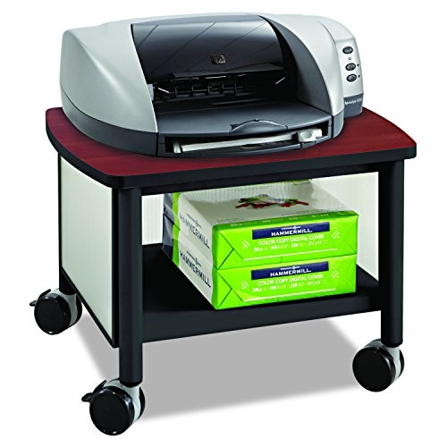 Safco Products 1862BL Impromptu Under Table Printer Machine Stand, Cherry/Black [Black]