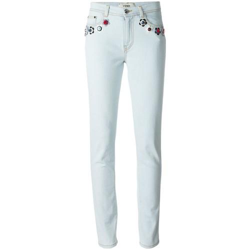 FENDI Flower Appliqué Skinny Jeans