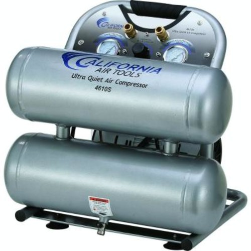 California Air Tools 4610S Ultra Quiet and Oil-Free 1.0 HP, 4.6 Gal. Steel Twin Tank Electric Portable Air Compressor