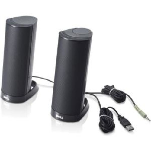 Genuine OEM Dell AX210 Black USB Wired 2.0 Computer Desktop Powered Stereo Multimedia Speakers 2-Piece Upgrade Part Numbers: R125K, R126K, X156C, X146C, H252D, AX210, 464-7184, 1.2 Watt Maximum Power Output, Amplifier Integrated with 1/8 Mini Audio Jack, Active Speaker Type, Dimensions: 3.25x6x9