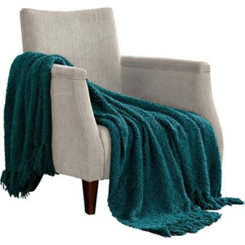 Charlton Home Alyn Fluffy Throw Blanket; Dark Teal