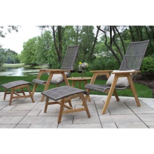 Outdoor Interiors 4-Piece Teak & Wicker Basket Patio Lounger Set
