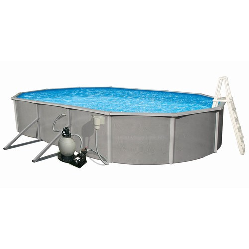 Blue Wave Belize 18 ft. x 33 ft. Oval 48 in. Deep 6 in. Top Rail Metal Wall Swimming Pool Package