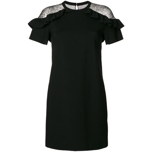 lace frill shoulder mini dress