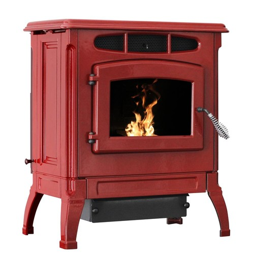 Ashley Hearth Products 2,000 sq. ft, EPA Certified Cast Iron Pellet Stove Red Enameled Porcelain with 50 lb. Hopper