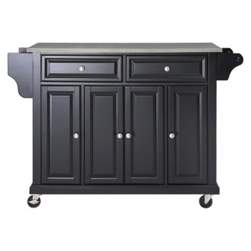Stainless Steel Top Kitchen Island Wood/Black - Crosley