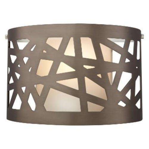 Ventana Wall Sconce [Finish : Satin Nickel; Shade Color : White; Light Option : Halogen]