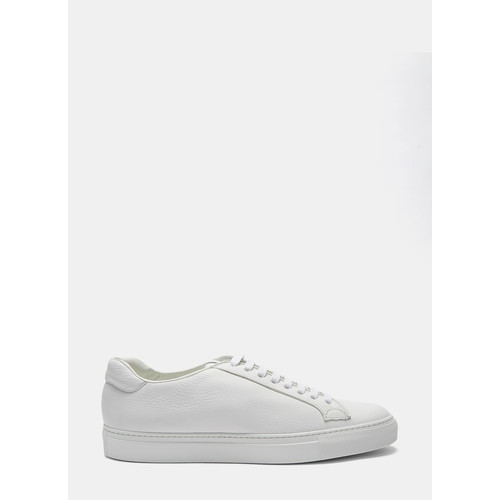 Mens Low-Top Grained Leather Sneakers in White
