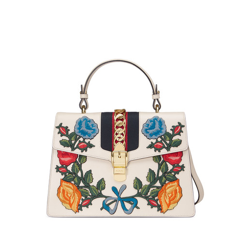 GUCCI Sylvie Embroidered Leather Top-Handle Satchel Bag