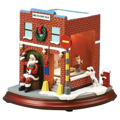 Lit LED Musical Fire Station Decorative Figurine