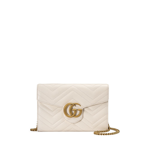 GUCCI Gg Marmont Mini Matelassé Chain Bag, White