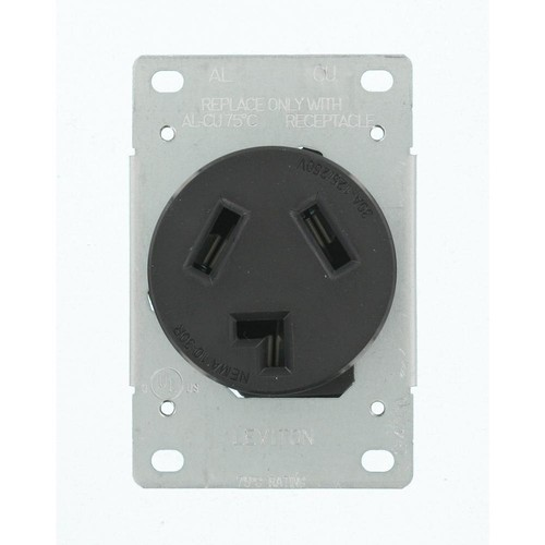 Leviton 30 Amp 125/250-Volt Shallow Single Flush Mounted Outlet, Black