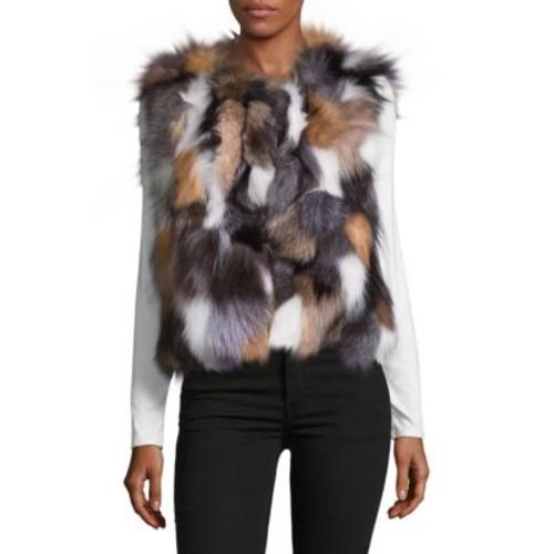 Surell - Dyed Fox Fur Sleeveless Vest