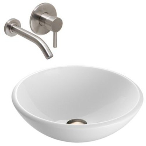 Vigo VGT213 Phoenix Square Stone Sink and Vessel Wall Mount Faucet Set in Brushed Nickel