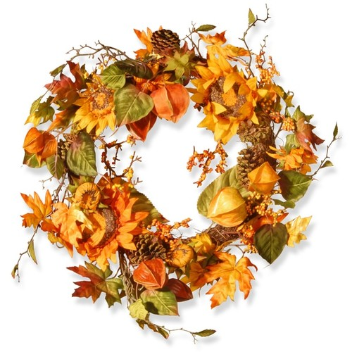 Multicolored Autumn Sunflower Wreath (25