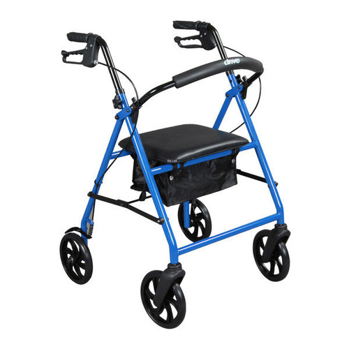 Drive Medical Steel Walker Rollator with 8-inch Wheels