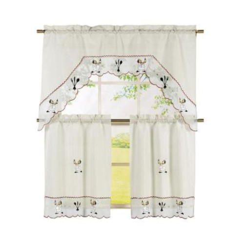 Window Elements Semi-Opaque Wine Chef Embroidered 3-Piece Kitchen Curtain Tier and Valance Set