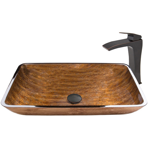 VIGO Glass Vessel Sink in Amber Sunset and Blackstonian Faucet Set in Antique Rubbed Bronze