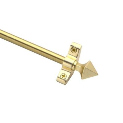 Zoroufy Plated Inspiration Collection Tubular 48 in. x 3/8 in. Brushed Brass Finish Stair Rod Set with Pyramid Finials