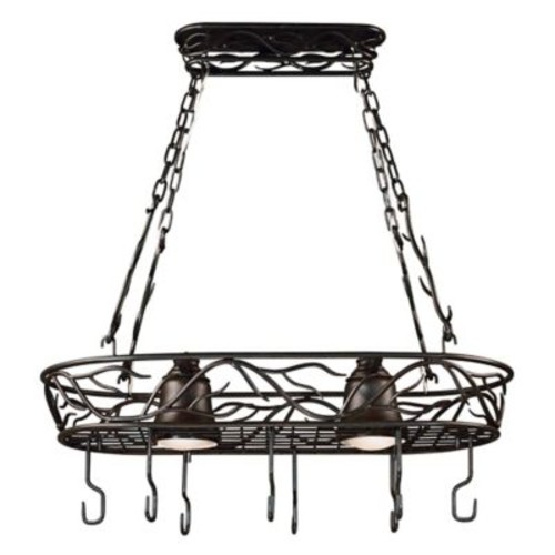 Kenroy Home Twigs 2-Light Pot Rack Chandelier in Bronze