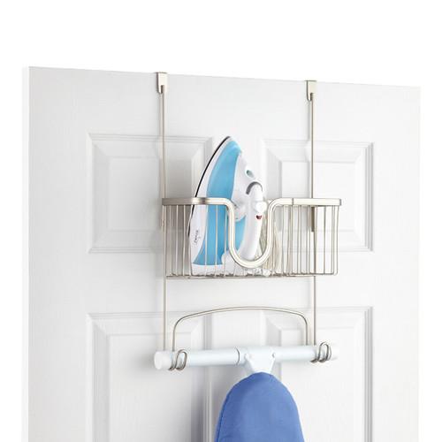 Satin Nickel Over the Door York Ironing Board Hanger with Utility Basket