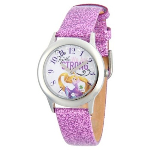 Girls' Disney Princess Rapunzel Stainless Steel Glitz Watch - Purple