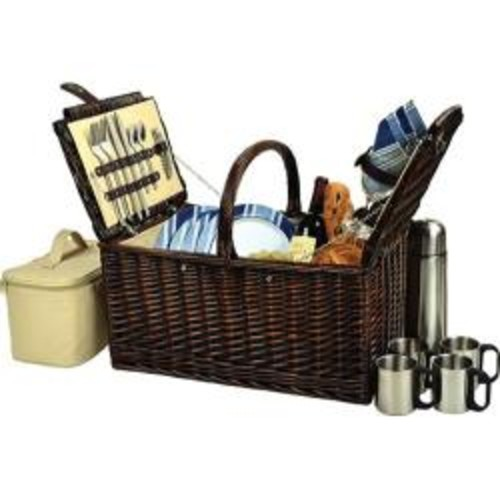 Picnic at Ascot Yorkshire Picnic Basket for Four with Coffee Wicker/London Plaid