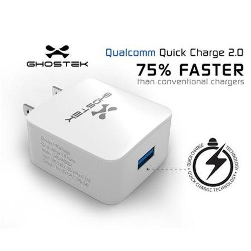 NRGcharge Quickcharge 2.0 Home Charger w/ Micro USB Cable, White GHONRG004