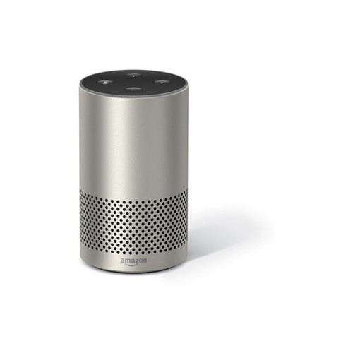 Amazon Echo (2nd Generation) (Silver Finish) Voice-activated speaker with Alexa virtual assistant