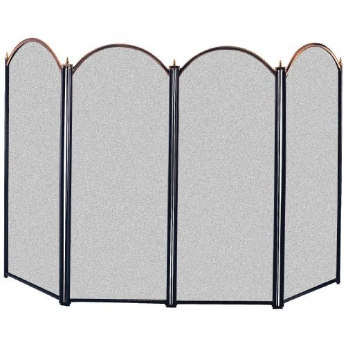 Panacea 15106 4 Panel Fireplace Screen, Antique Brass and Black