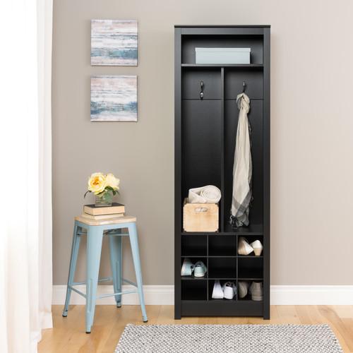 Prepac Space-Saving Entryway Organizer with Shoe Storage, Black