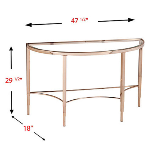 Southern Enterprises Thessaly Console Table, Crescent, Metallic G
