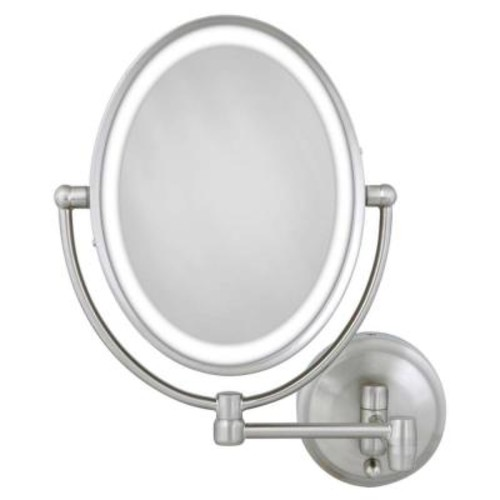 Zadro 15 in. L x10 in. W LED Lighted Oval Wall Mirror in Satin Nickel