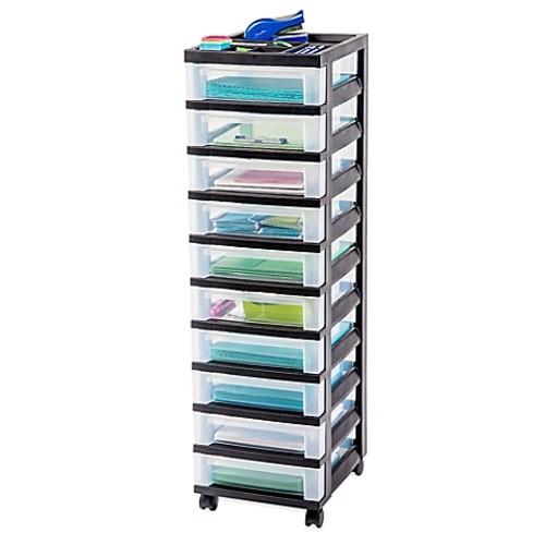 IRIS 10-Drawer Rolling Storage Cart in Black