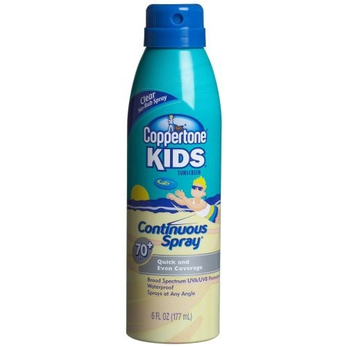 Coppertone Kids Sunscreen Lotion, SPF 70+ Continuous Clear Spray, 6-Ounce Bottles