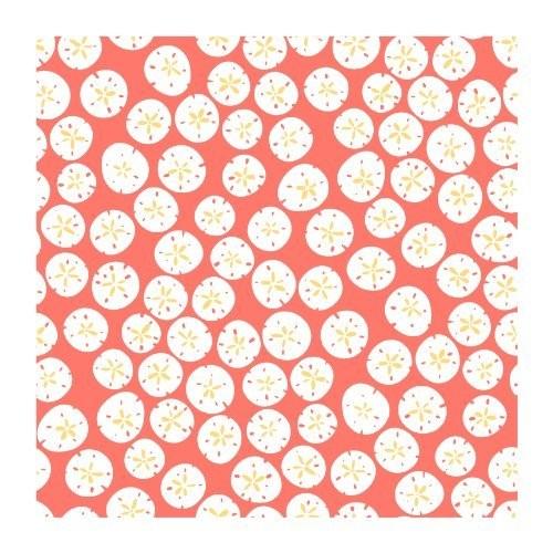York Wallcoverings KB8555 Bistro 750 Sand Dollars Prepasted Wallpaper, Coral / White / Mustard Yellow [Pink .190, Wallpaper]