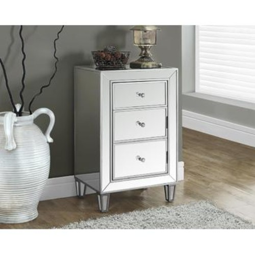 Monarch Specialties Brushed Silver Mirrored Accent Table I 3706