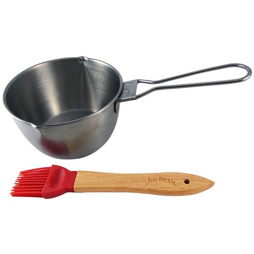 Jim Beam Stainless Steel Basting Pot and Silicone Spoon Brush