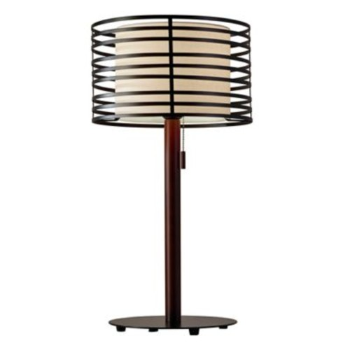 Adesso Reed Table Lamp in Walnut/Black